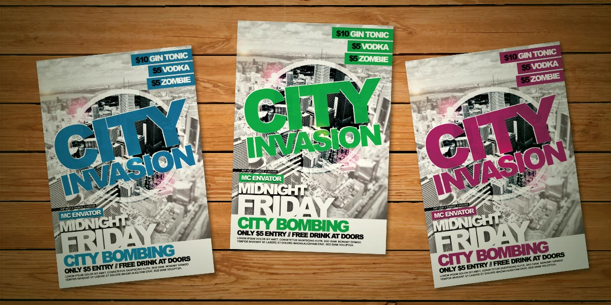 City Invasion Flyer Template